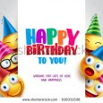 birthday flyer template stock vector happy birthday vector design with smileys wearing birthday hat in white empty space for message and
