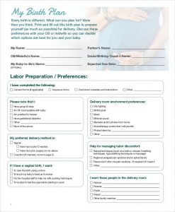 birthing plan template baby birth plan template
