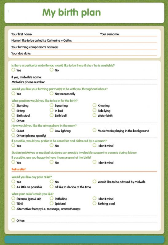 birthing plan template