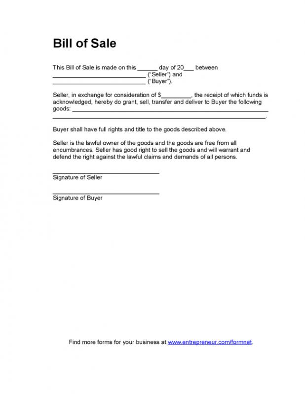 Blank Bill Of Sale  Template Business