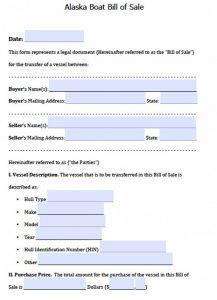 blank bill of sale pdf alaska vessel bill of sale x