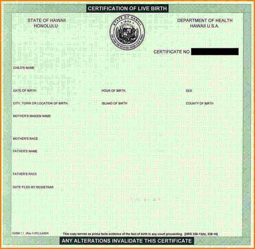 Baby Birth Certificate Blank