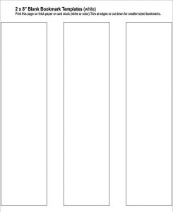 blank bookmark template free blank bookmark