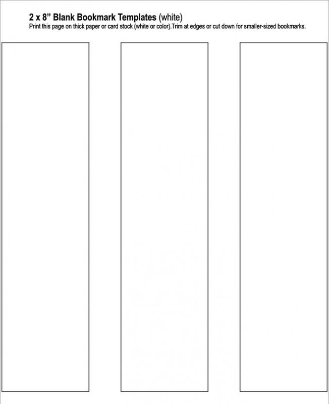 Blank bookmark template template business for Free bookmark templates