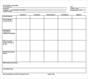 blank business plan template word sample simple lesson plan printable