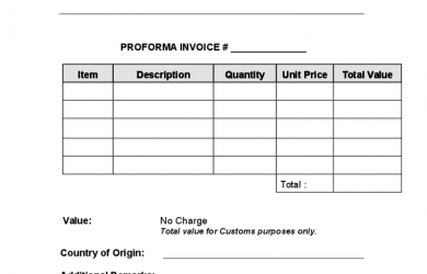 blank commercial invoice proforma invoice template example l