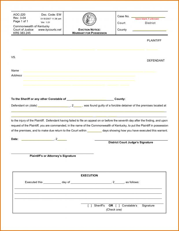 Blank Eviction Notice  Template Business