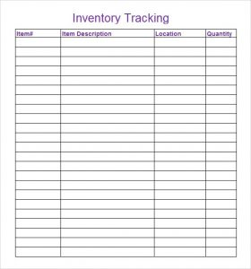 blank excel spreadsheet inventory tracking template