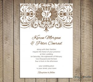 blank invitation templates calligraphic lace free printable wedding invitation preview