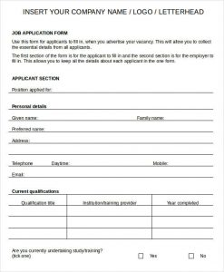 Blank Job Application Printable Blank Job Application Form