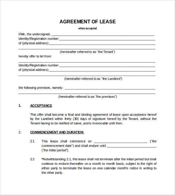 Blank Lease Agreement  Template Business