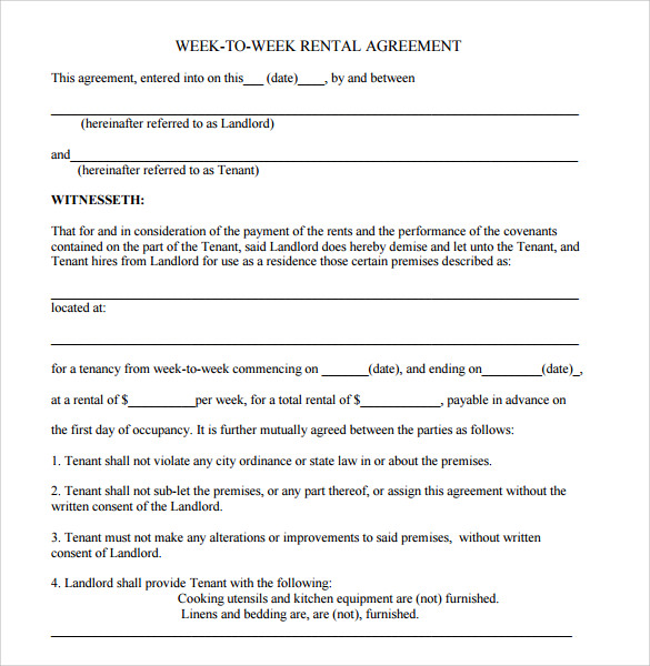 Blank Lease Agreement  Blank Rental Lease