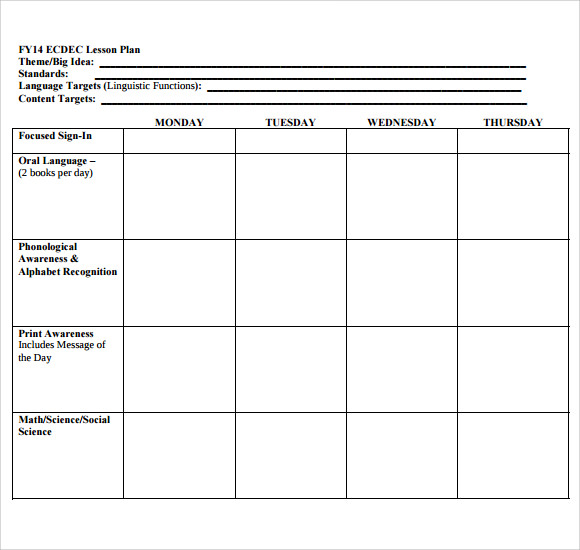 Blank Lesson Plan Template  Template Business