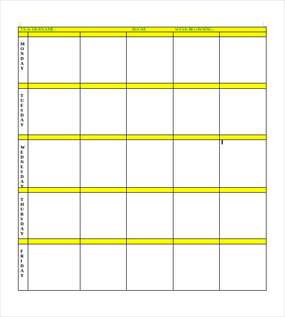 Blank Lesson Plan Template | Template Business