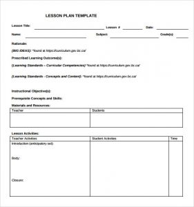 blank lesson plan template teacher blank lesson plan template