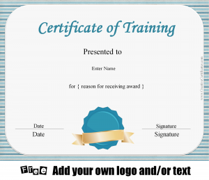 blank logo templates certificate of training