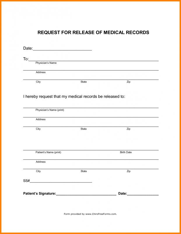 Release Of Medical Records Template. Blank Medical Records Release Form  Template ...