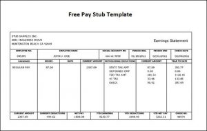 blank pay stub doc free paycheck stub template word pay stub intended for pay stub template word document