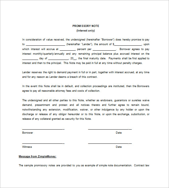 blank promissory note form
