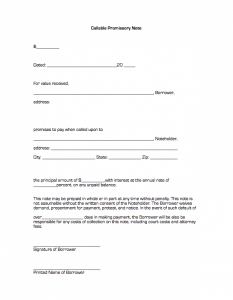 blank promissory note form promissory note (callable)