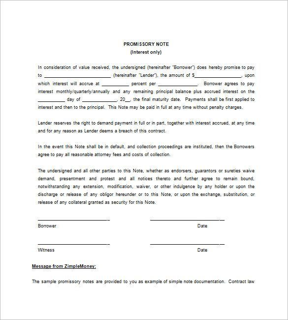 blank promissory note
