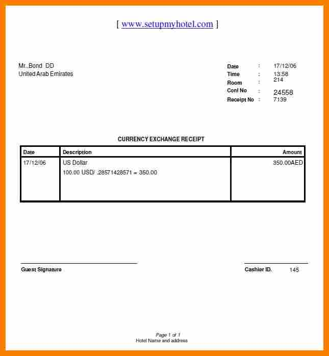 Blank Receipt Form Template Business