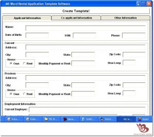 blank rental application ms word rental application template software by sobolsoft