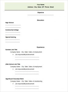 blank resume form high school blank student resume template