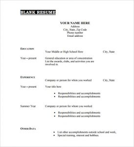 blank resume form printable blank resume template free pdf format download
