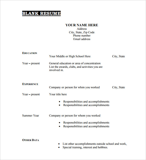 blank resume form