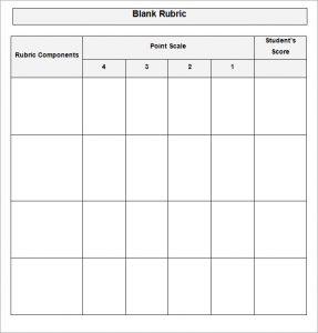 blank rubric template blank rubric