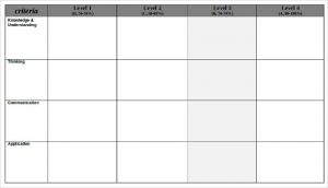 blank rubric template blank rubric in word