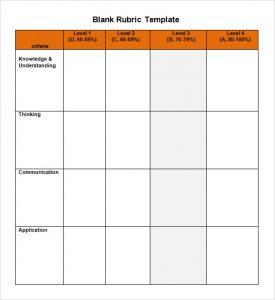 blank rubric template blank rubric template word