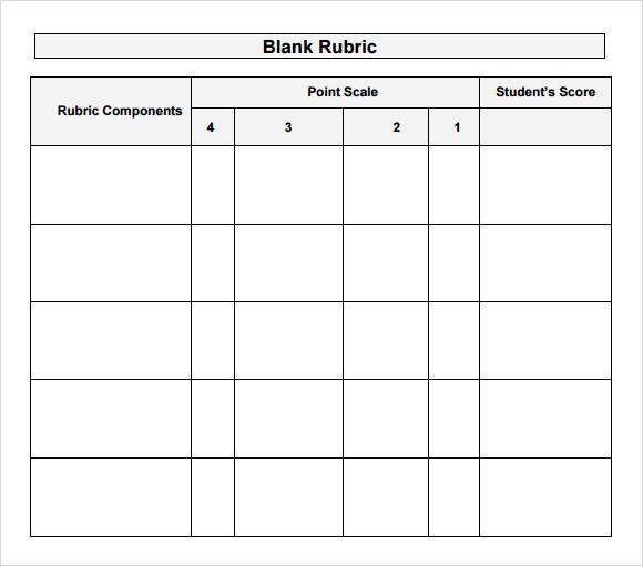 blank rubric template