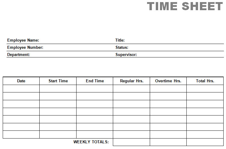 blank time sheets