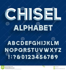 block letter style chiseled alphabet vector font type letters numbers punctuation marks block letters blue background