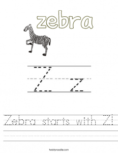 block letter style zebra starts with z worksheet