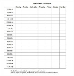 block schedule template blank schedule template