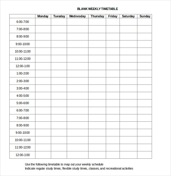 block schedule template