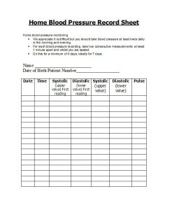 blood pressure log sheet blood pressure log template