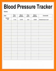 blood pressure recording chart blood pressure record sheet