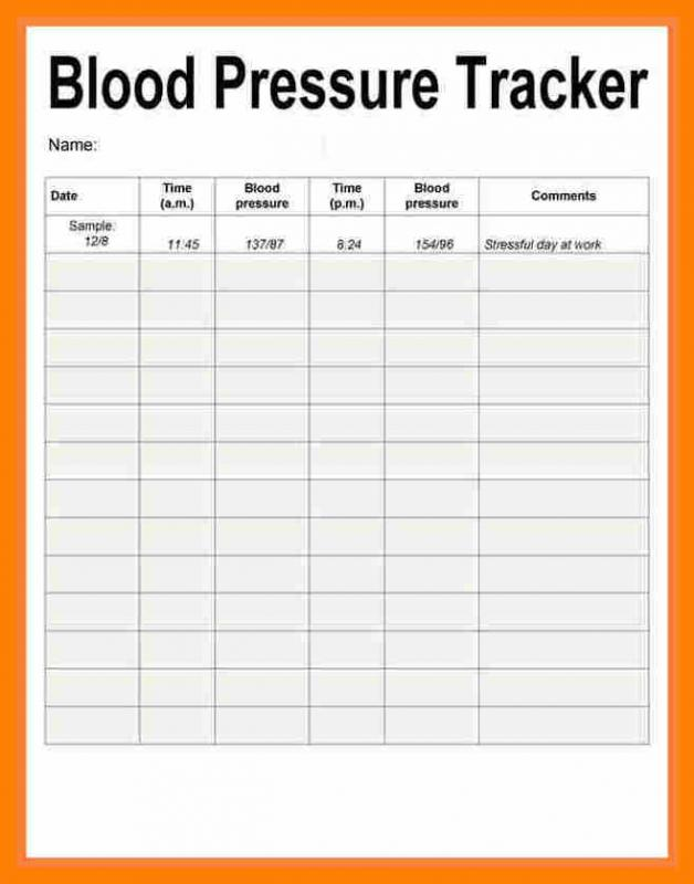 blood pressure recording chart
