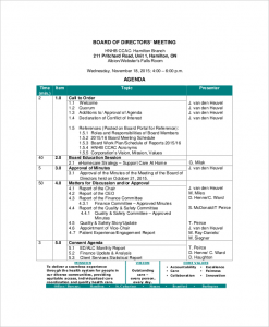 board meeting agenda template board of directors meeting agenda templates free sample