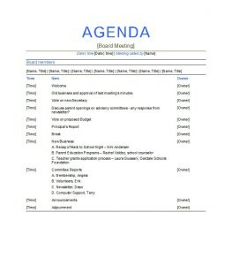 board meeting agenda template uncategorized excellent agenda board meeting template example with members and items