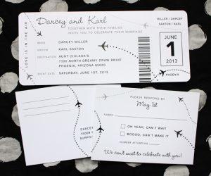 boarding pass invitations black white gray simple airplane dots boarding pass wedding invitations
