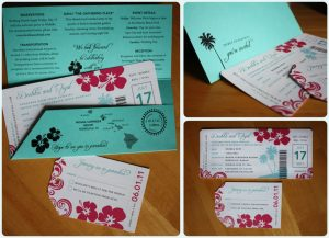 boarding pass invitations pink hibiscus swirl and turquiose palm tree boarding pass wedding invitations x