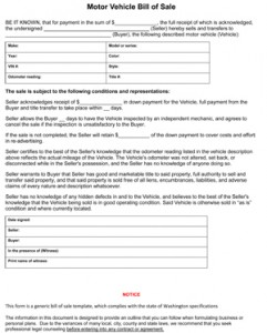 boat bill of sale template