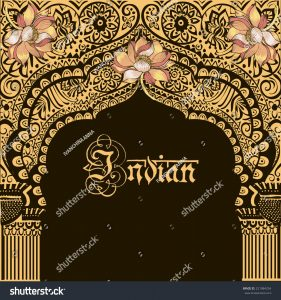 book cover design template stock vector indian architecture indian temple god krishna flower lotus architectural arch
