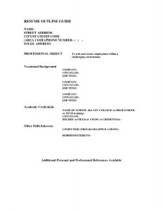 book outline example job resume outline format of resume for job application to pertaining to awesome resume outline example