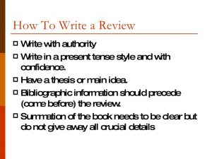 book outline example writing a book review